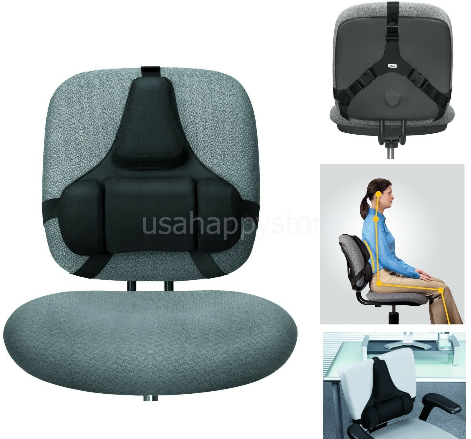Back Support Chair Fellowes Back Support Black Lumbar Memory Foam Health Care