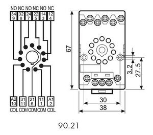 Finder 9021 Relay Base for 6013 Series Relays (11 pin