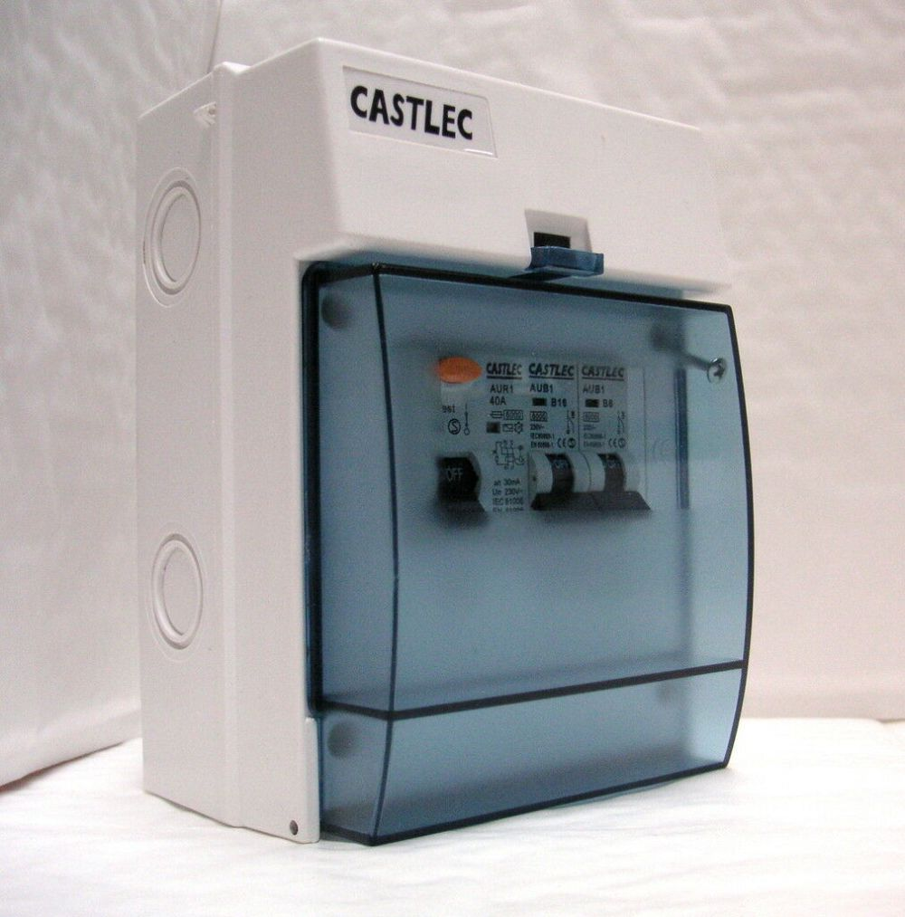 medium resolution of garage consumer unit shed greenhouse fuse box with rcd 2 mcb s weatherproof
