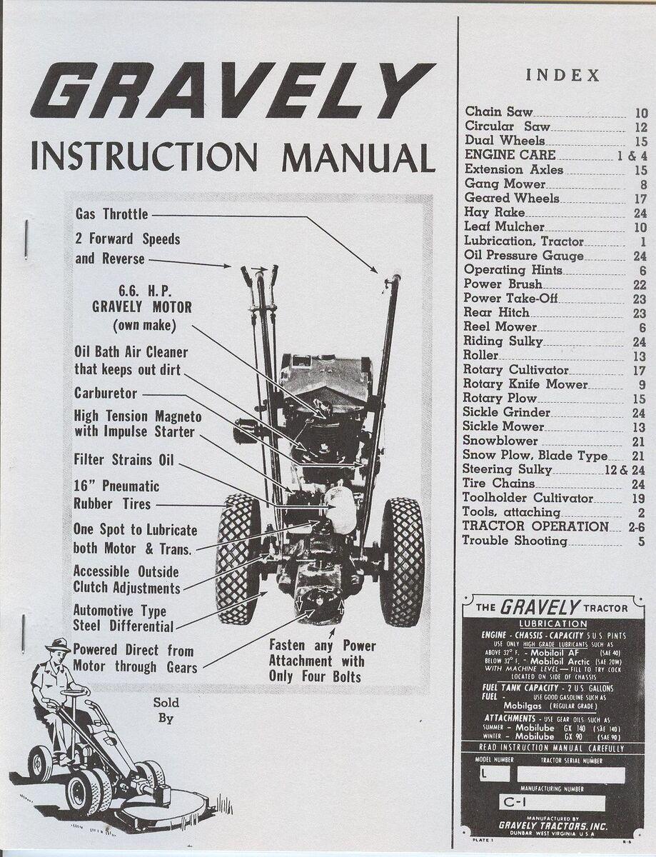 Gravely L Garden Tractor Instruction Manual 6 6 HP Motor