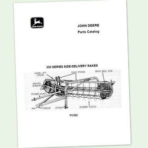 John Deere 350 Side Delivery Rake Parts Manual Catalog