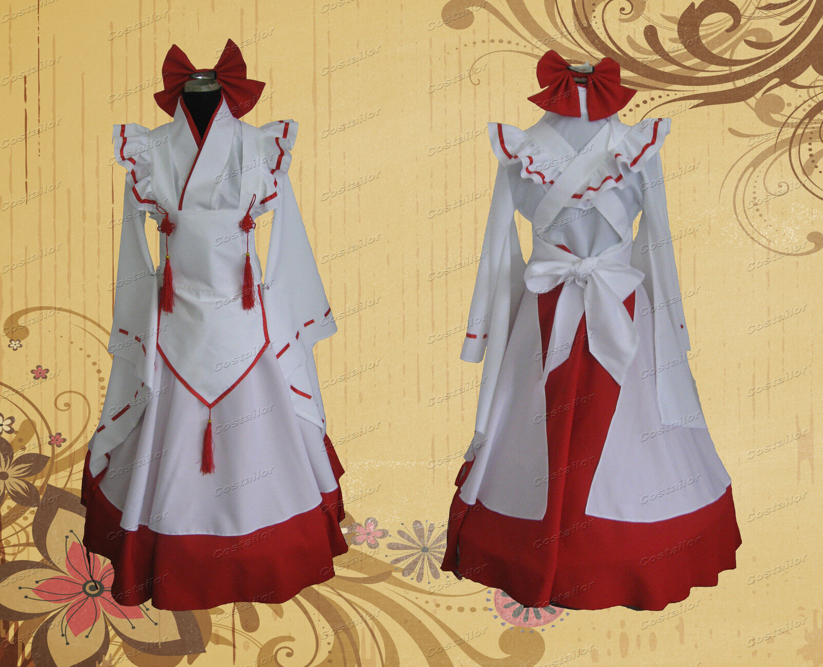 Japanese Miko Lolita Gown Cosplay Costume Dress Hand-made