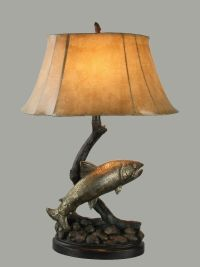 Jumping Trout Table Lamp Lake Fish Fishing Rustic Cabin