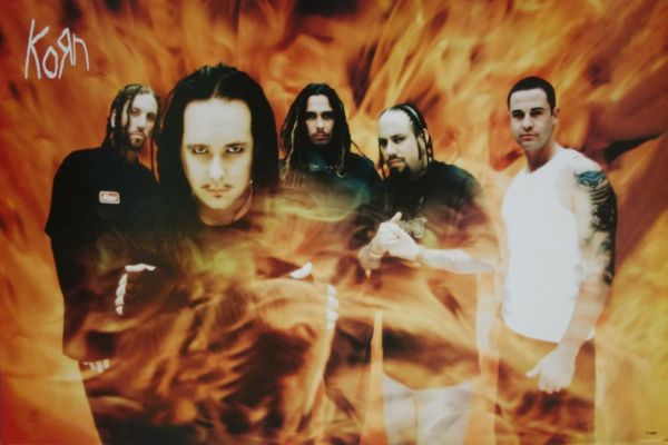 """Korn """"band Standing In Flames"""" Poster Asia Nu"""