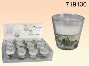 Kerze im Glas Motivkerze Deko Hochzeit wei Gelkerze Rosen Wachs Feier Flur 6St  eBay