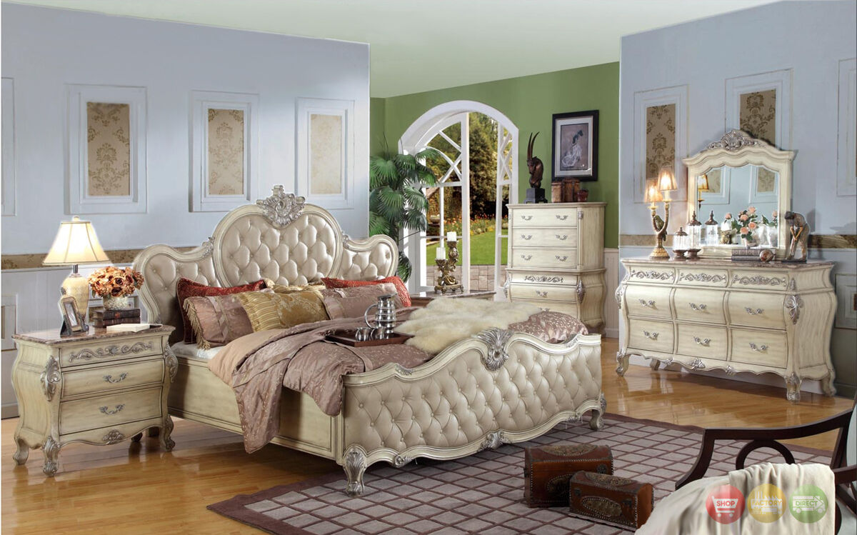 King Antique White Tufted Leather Bed 5pc Traditional