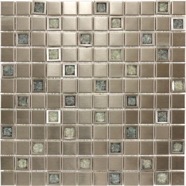 Kitchen Bathroom Aluminium Ceramic Inlaid With Blue Crackle Glass Mosaic Tile