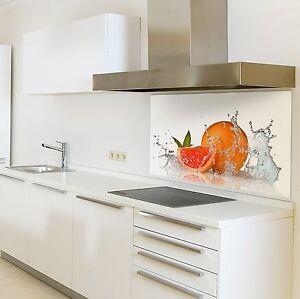 Kchenrckwand aus Glas Motiv Orange Spritzschutzwand keine Folie  eBay