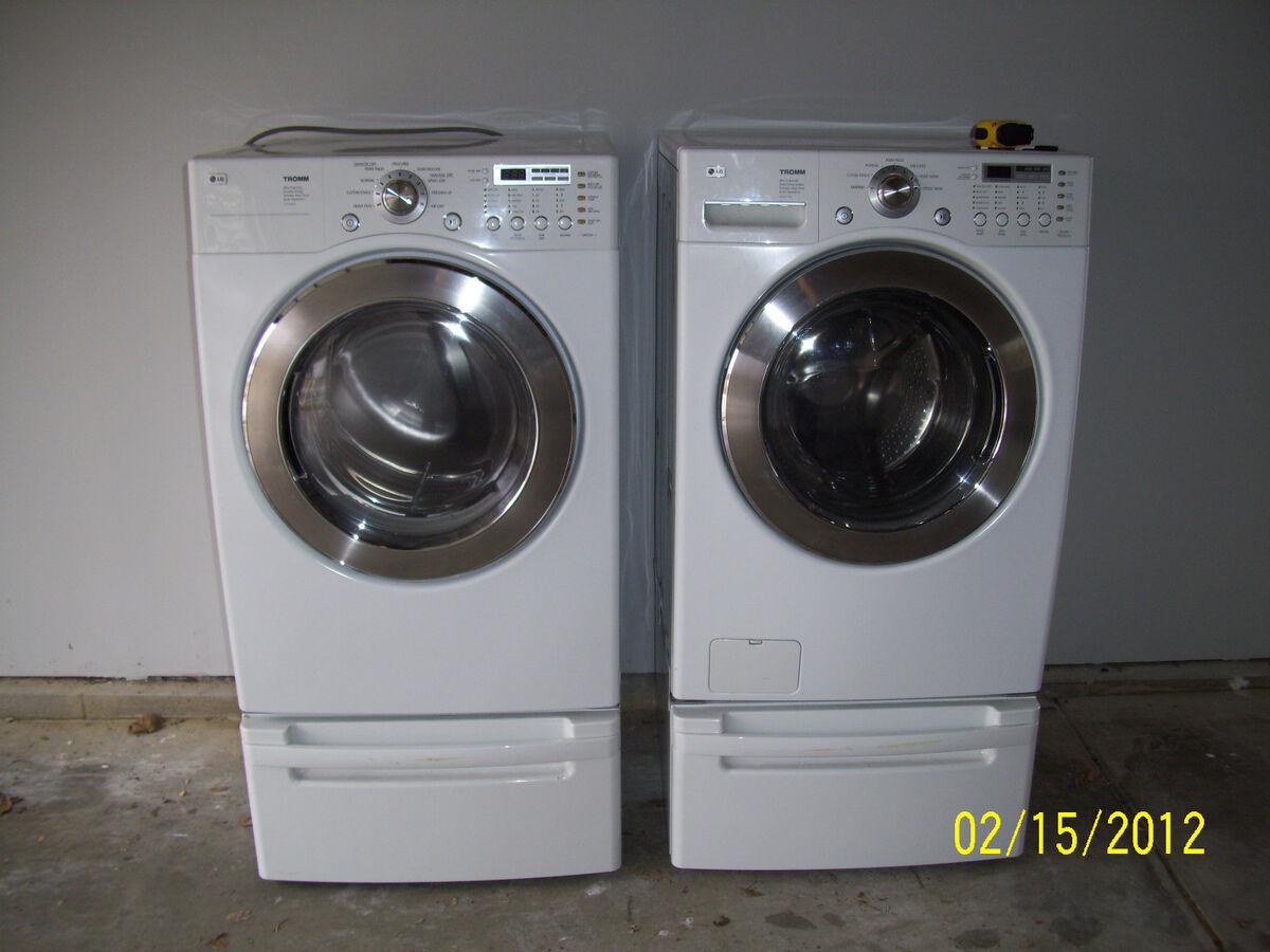 Lg Tromm H E Washer Gas Dryer With Pedestals