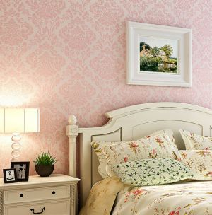 bedroom pink wall victorian damask luxury fabric wallpapers decor covering bedrooms walls rooms paper designs background decoracao lighting feature inspiration