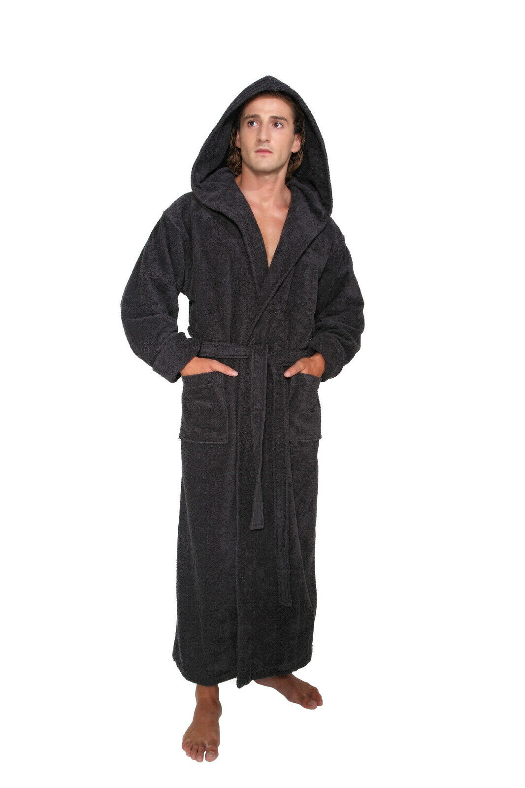 Hooded Bathrobe Mens Turkish Cotton Terry Spa Robe With Hood