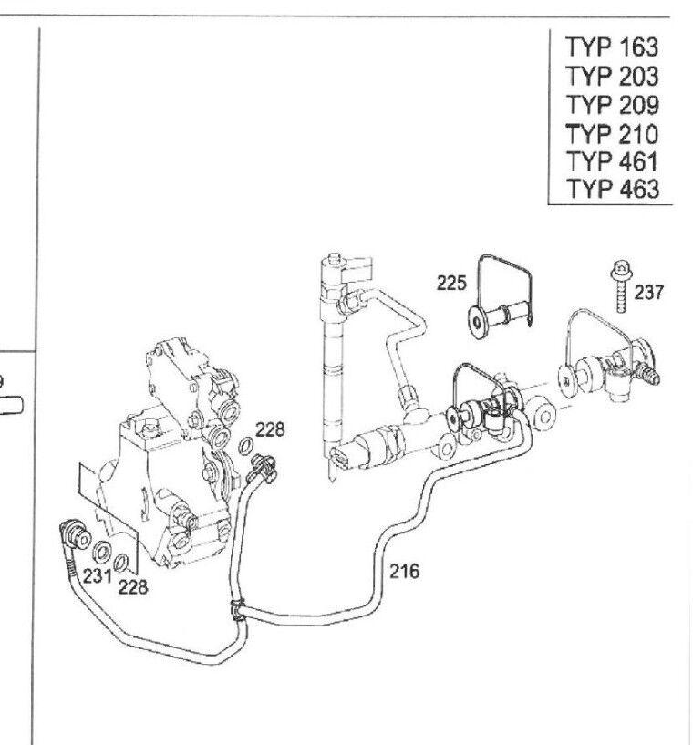Mercedes w163 ML 270 CDI kraftstoffrohr railrohr Diesel