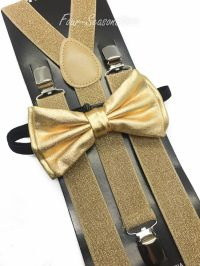 Metallic Gold Bow Tie & Matching Suspender Tuxedo Wedding ...