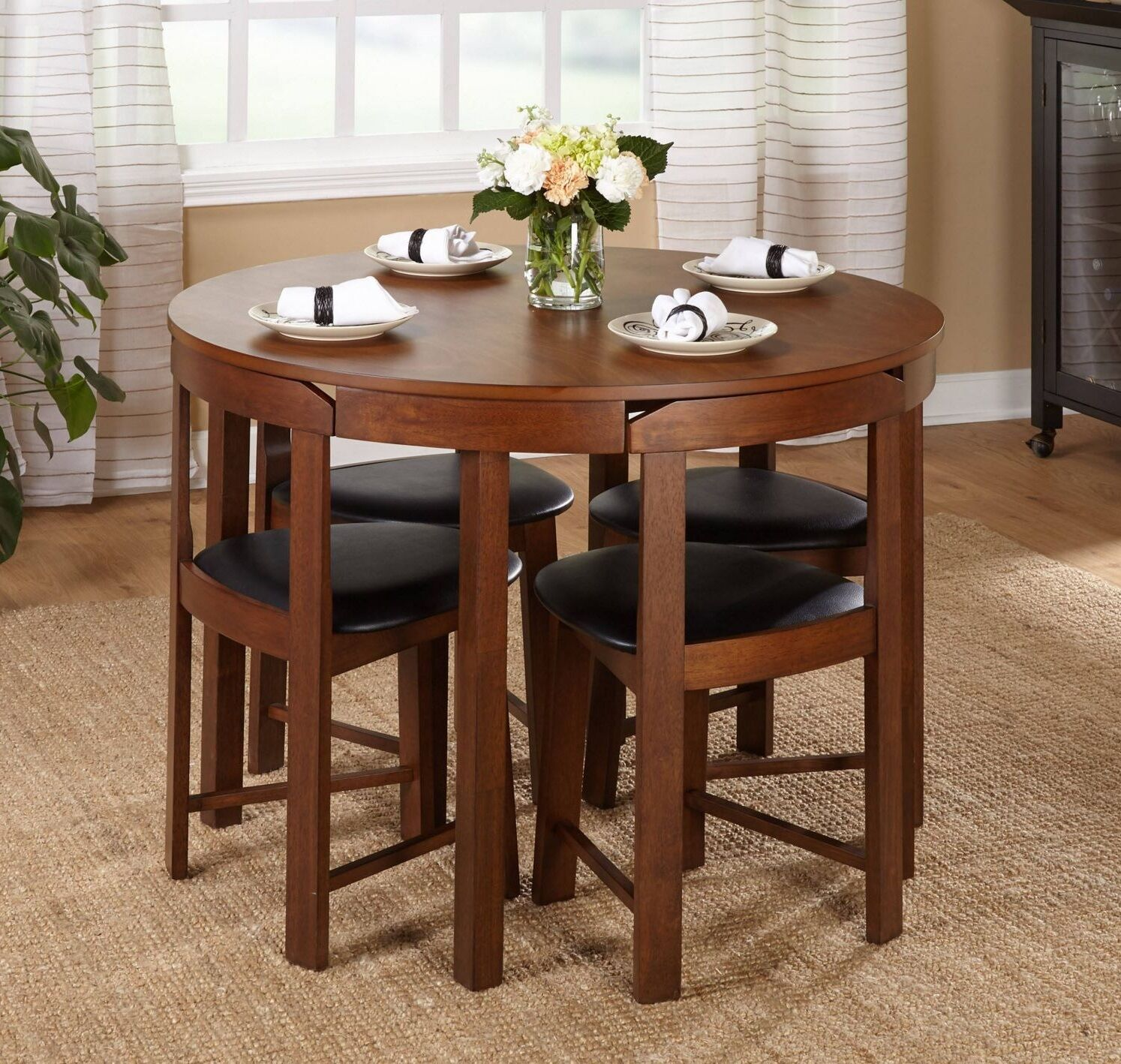 small kitchen dining sets island cart target 5 pc oval dinette set table w 4 wood seat