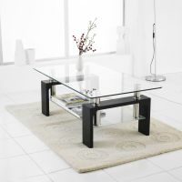Modern Rectangle Glass & Chrome Living Room Coffee Table ...