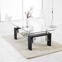 Modern Rectangle Glass & Chrome Living Room Coffee Table ...