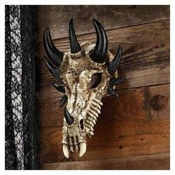 Mythical Folklore Dragon Fossilized Bone Wall Statue Gothic Medieval Home Decor