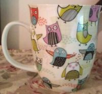 New Ceramic Owl Mug Coffee Tea Cup White Multi Colored ...