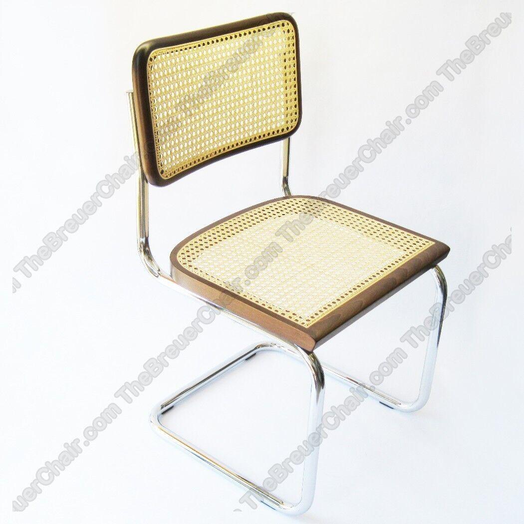 Marcel Breuer Cesca Cane Side Chair in Honey Oak w Chrome