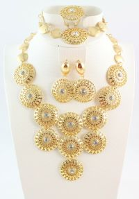 Hot Gold Plated Necklace Bracelet Ring Earring Sets ...