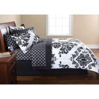 FRENCH DAMASK Black White QUEEN Bedding Comforter Set   eBay