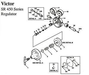 Rebuild Repair Kit Victor SR450D Oxy Oxygen Regulator