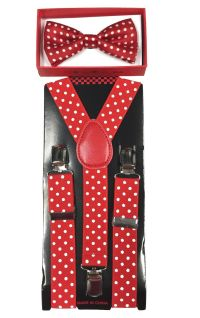 Red w/ white dot toddler bow tie and suspenders set - baby ...