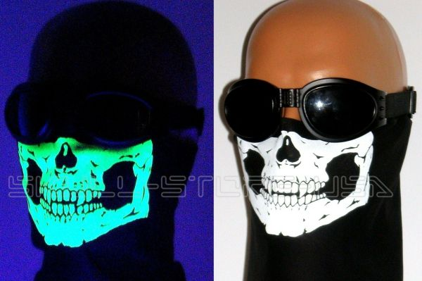 American Adult Glowing Skull Black Bandana Face