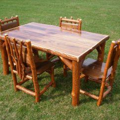 Rustic Kitchen Table Sets Antique Cabinet Sassafras Walnut Log 43 4 Chairs Amish