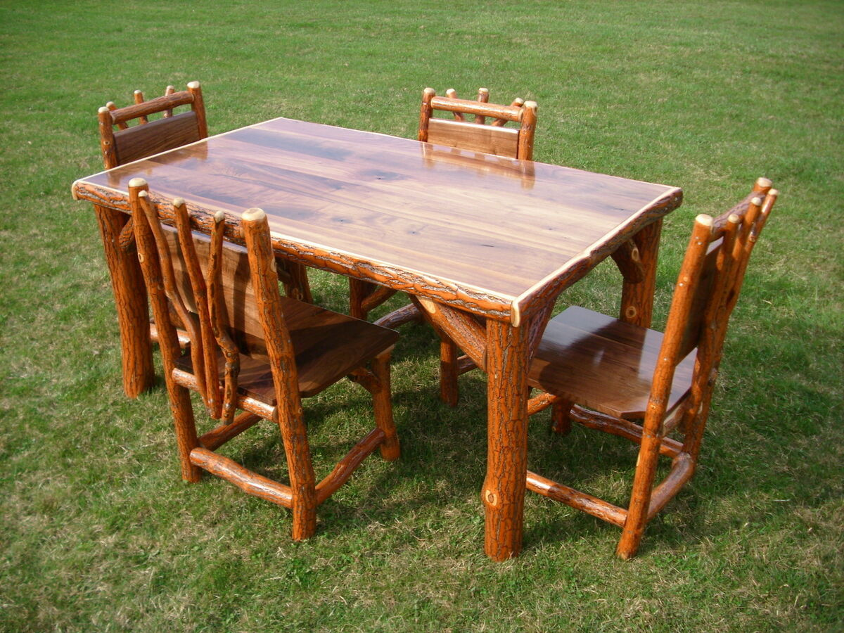 Log Table And Chairs Sassafras Walnut Rustic Log Kitchen Table 43 4 Chairs Amish