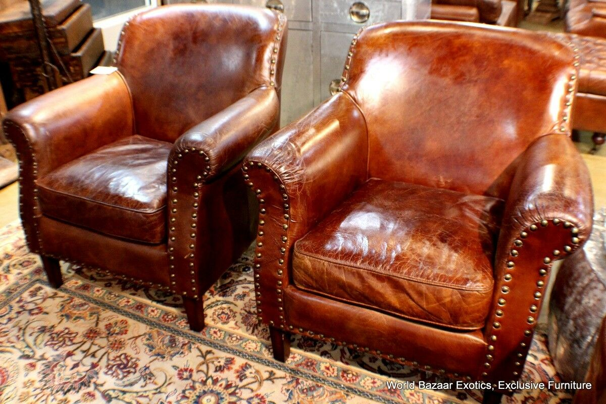 distressed leather armchair uk bungee chair office set of 2 club arm vintage italian brown cigar