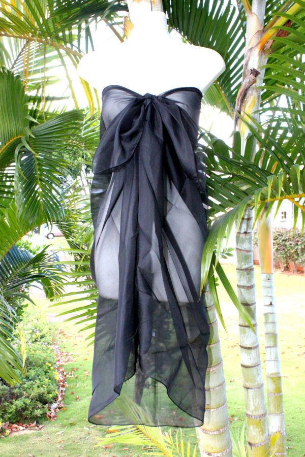 Sheer Sarong Solid Black Beach Cover Hawaii Vacation Bikini Wrap Skirt Dress