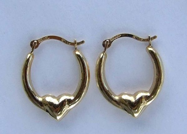 Small Puff Heart Hoop Earrings With Smooth Finish - 10k Yellow Gold