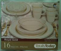 Totally Today Royal Gold Stoneware Dinnerware Set 16 ...