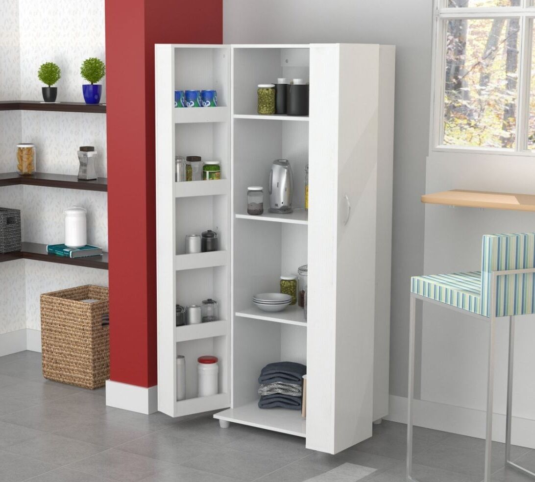 Tall Kitchen Cabinet Storage White Food Pantry Shelf Cupboard Wood Organizer  eBay