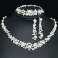 VP38 VF Clear Crystal Pearl Earrings Bracelet Necklace Set ...