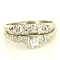 Vintage 14 Karat White Gold Diamond Wedding Ring Set Fine ...