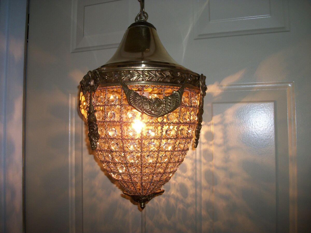 Vintage Ornate Brass Crystal & Beaded Basket Chandelier