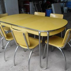 1950 S Yellow Formica Table And Chairs Chair Rentals Long Island Vintage Retro Chrome Kitchen 6