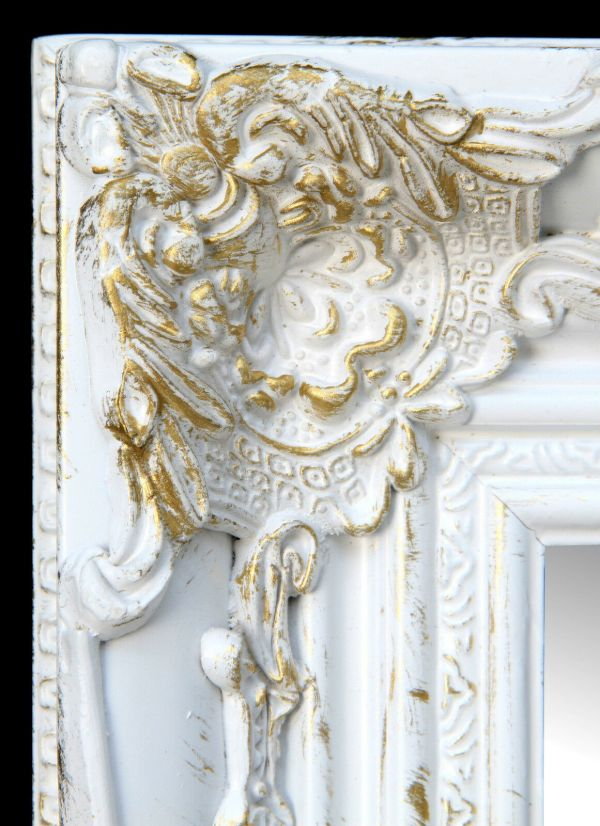 Wall Mirror Rectangular White Gold Floor Baroque Antique