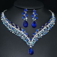 YT293 Blue Rhinestone Crystal Earrings Necklace Set Bridal