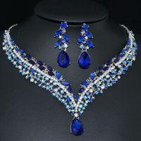 YT293 Blue Rhinestone Crystal Earrings Necklace Set Bridal ...