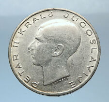 1938 YUGOSLAVIA King Peter II w Eagle Antique Silver 20 Dinara Coin i72451
