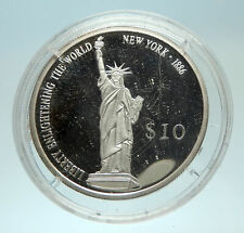 2000 LIBERIA Statue of Liberty Genuine Proof Silver $10 Liberian Coin i76882