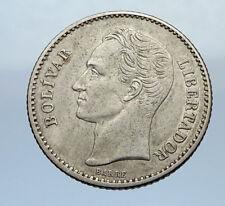 1936 Freemason President Simon Bolivar VENEZUELA Founder Silver Coin i69351