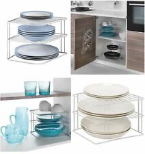 kitchen corner shelves mobile cart shelf in racks holders ebay new 2 tier white plate rack storage organiser tidy