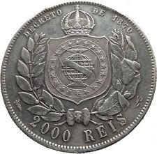 1889 BRAZIL w King Dom Pedro II Antique Brazilian Silver 2000 Reis Coin i75193