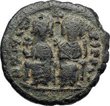 JUSTIN II & SOPHIA Cyzicus Half Follis Medieval Ancient Byzantine Coin  i70658