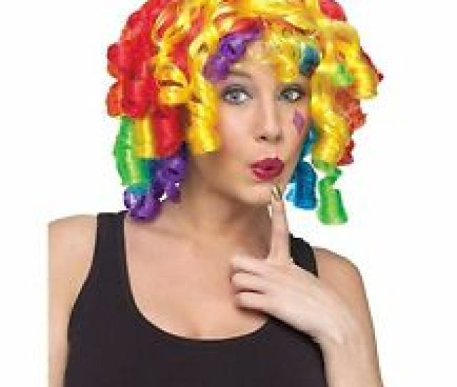 Crazy Curly Curlz Rainbow Clown Wig Adult Costume Accessory