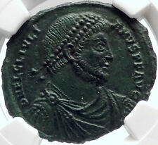 JULIAN II 361AD Authentic Ancient Roman Coin BULL Taurus ZODIAC NGC Ch AU i70002